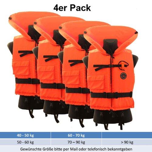 Sparpack 4 Stk. Rettungswesten Aquarius - freie Größenwahl von 40 - 120 kg CE 100 N