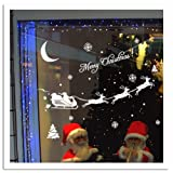 Topro Merry Christmas White Snow Flakes Reindeer Sled Santa Claus Wall Art ...