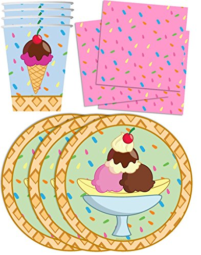 Ice Cream Shop Birthday Party Supplies Set Plates Napkins Cups Tableware Kit for 16 (Ice Cream Birthday compare prices)