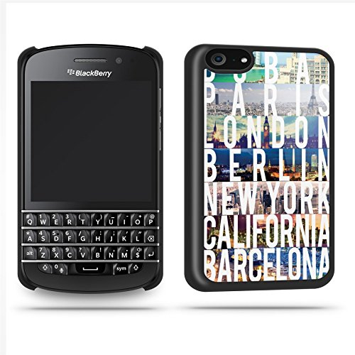 World Capital Cities Cool Retro Quirky Phone Case Shell For Blackberry Q10 - Black