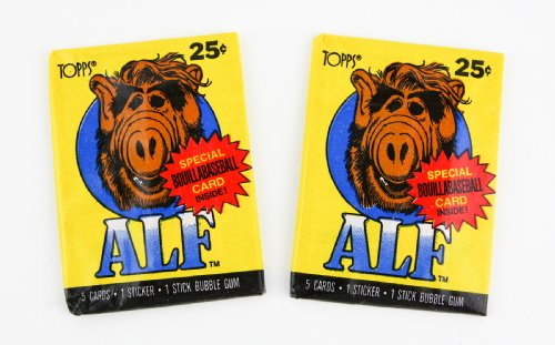 Two ALF Vintage Trading Card Packs 1987 - Yellow Packaging