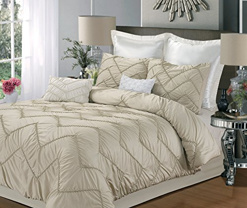 Isabella 9-Piece Comforter Set, King Size, Champagne; Sheet Set, Bedskirt, Shams And Decorative Pillow Included front-965847