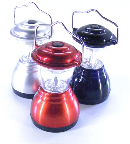 6 LED mini camping lantern - Colours may vary between silver, red, blue and black