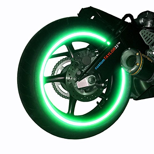 "customTAYLOR33 (All Vehicles) Green High Intensity Grade Reflective Copyrighted Safety Rim Tapes (Must select your rim size), 17"" (Rim Size for Most SportsBikes)"
