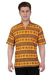 Castor Men's Ethnic Short Kurta Om Design_Saffron_XL