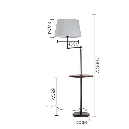 Mesa de centro americana Lámpara de pie Salón Simple Moderno Dormitorio Lámpara de mesa vertical Nordic Creative Lámpara de mesa vertical Lámpara de pie (Sombra blanca, Sombra de lino, Sombra gris) ( Color : Gray shade )