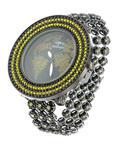 Techno Pavé Yellow And Black Quartz Crystal Men'S Wolrd Map Fashion Watch
