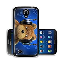 buy Liili Premium Samsung Galaxy Mega 6.3 Aluminum Snap Case Teddy Bear With Music Headphones Frontal View With Blue Background And Musical Notes Image Id 19893949