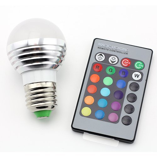 Supernight E27/E26 Standard Screw Base 16 Colors Changing Dimmable 3W Rgb Led Light Bulb With Ir Remote Control For Home Decoration/Bar/Party/Ktv Mood Ambiance Lighting front-589310