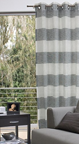 oesenschal senvorhang 140x235 cm saba deko gardine leinenoptik streifen grau neu ovp. Black Bedroom Furniture Sets. Home Design Ideas