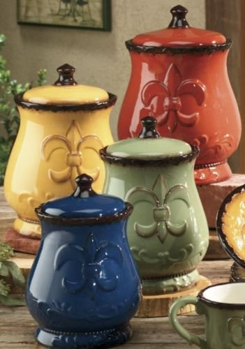 Tuscany colorful hand painted fleur de lis canisters set of 4 82001 by ack home garden kitchen - Fleur de lis canisters ...