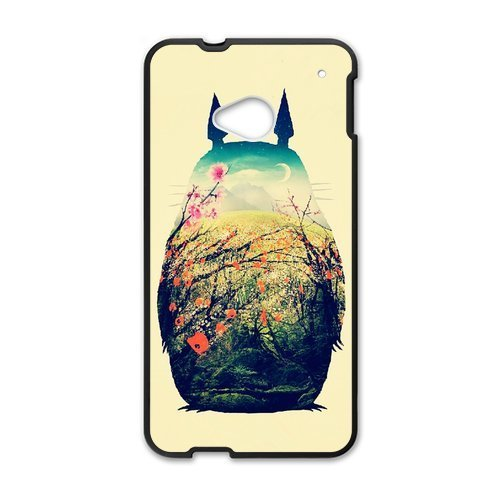 Hand Painted Animal Cartoon Series Totoro Color Design Popular Coral Custom Luxury Cover Case For HTC One M7 with Best Plastic ALL MY DREAMS (Htc Mobile Price compare prices)