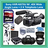 Sony HXR-NX70U NXCAM Compact Camcorder with 96GB Flash Memory Starter Package Includes NPFV100 Battery, 32GB SDHC Memory Card +.45x Wide Angle Lens + 2 X Telephoto + 72