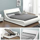 KANSAS-Doppelbett-Polsterbett-mit-Gasdruckfeder-Bettkasten-Bett-Lattenrost-Kunstleder-160-x-200cm-Weiss