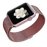 Apple Watchベルト, 特徴的なマグネットクラスプ設計,Biaoge アップルウォッチ メッシュバンド マグネット式 8mmステンレス留め金製ベルト Metal Clasp for Apple Watch All Models 42mm (42mm, ローズゴールド)