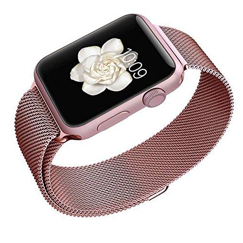 Apple Watchベルト, 特徴的なマグネットクラスプ設計,Biaoge アップルウォッチ メッシュバンド マグネット式 8mmステンレス留め金製ベルト Metal Clasp for Apple Watch All Models 38mm (38mm, ローズゴールド)