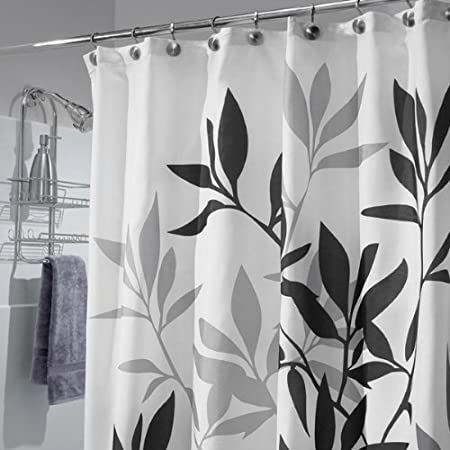 InterDesign Leaves Shower Curtain in Black and White