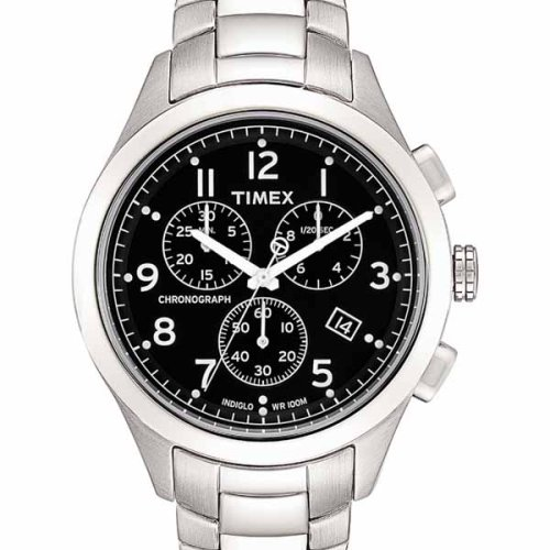 Timex Men's T Series Chronograph Silver-Tone Stainless Steel Bracelet Watch #T2M469