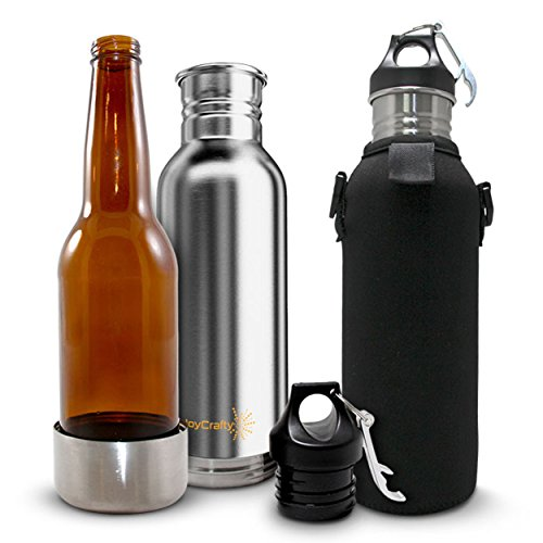 JoyCrafty Stainless Steel Beer Bottle Insulator with Opener (Redds Apple Ale Bottle Opener compare prices)