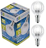2 x Eco Halogen Energy Saving Mini Golf Balls Globes 42W = 60w SES E14 Small Edison Screw Classic Clear Round, Dimmable Light Bulbs Lamps, G45, Mains 240V