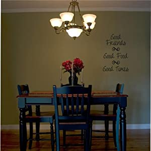 Good friends good food good times wall saying for Home decorations amazon