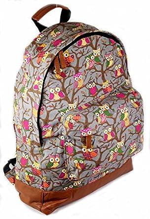 Ladies Girls Canvas Print Backpack Bag Rucksack Travel Gym School College A4 (Owl/Grey)