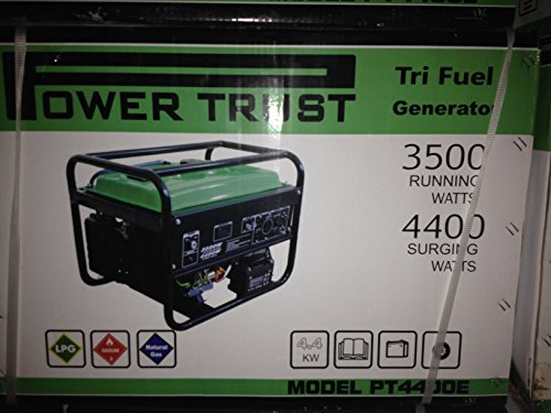 Power Trust Equipment PT4400E 4400 Watt Tri-fuel 7 HP Gasoline, Propane, or Natural Gas Powered Portable Generator with Electric Start