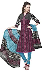 Salwar Studio Multicolor & Blue Cotton Dress Material With Dupatta RangResham-1819