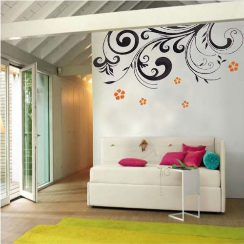 PeelCo Modern Black and Orange Floral Design Wall Decal for Home - 1