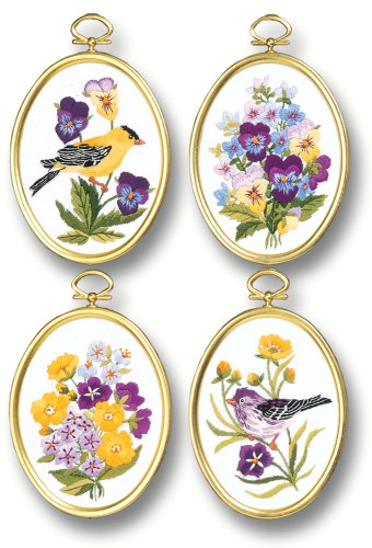 Janlynn Embroidery Kit, 4-1/4-Inch by 3-1/4-Inch , Wildflowers and Finches
