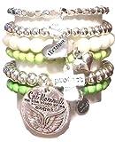 CAT HAMMILL ( キャットハミル ) オーストラリア の 夢 私 を 守る メッセージ が 詰まった チャーム ブレスレットセット ウィング セット 2 heart cross silver bracelet ブレスレット ハート クロス シルバー グリーン ポーチ ゲット 海外 ブランド