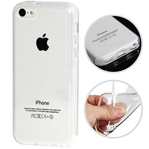 Coque Iphone 5C – AC-Diffusion© – Silicone gel transparent haute densité – Protection arrière anti-choc – Film de protection d'écran offert