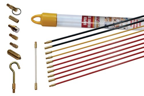 Super Rod CRSD Super Deluxe Set includes 10m 32ft Cable Installation Kit with 7 Cable Handling Attachments