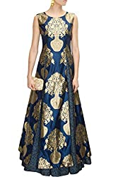Fabron navy blue designer printed gown with lehenga for women
