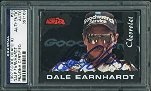 DALE EARNHARDT AUTHENTIC SIGNED CARD 1997 SCORE BOARD IQ #38 PSA DNA SLABBED by Press Pass Collectibles