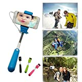 [New Version Fashion Wire Monopod Selfie Stick] BenGoo Extendable No Charger No Bluetooth 3.5mm Wired Remote Control Cable Control Selfie Stick Selfie Handheld Stick Monopod Extendable Handheld Pole Holder with Adjustable Phone Holder For iPhone 6 Plus iPhone 6 iPhone 5S iPhone 5C 5 iPhone 4S/ Samsung Galaxy S5 Galaxy S4 S3 S2/ Samsung Galaxy Note 4 Note 3 Note 2 Note 1/ Sony Xperia Z1 Z2 Z3 and Other Smart Phone Screen Below 5.5 inch-Blue