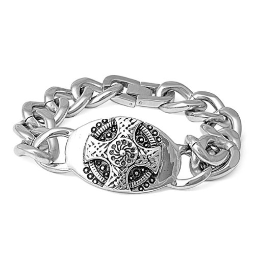 Polished Stainless Steel Celtic Cross Men's Chain Bracelet - 8.5