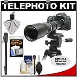 Rokinon 500mm f/8 Telephoto Lens with 2x Teleconverter (=1000mm) + Monopod Kit for Canon EOS 60D 7D 5D Mark II III Rebel T3 T3i T4i Digital SLR Cameras