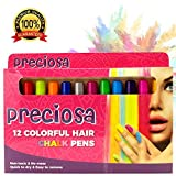 HAIR CHALK PENS:12 Different Hair Chalk Pens Set| Temporary Hair Color For Kids | Hair Chalk For Kids | Temporary Hair Dye| Kids Hair Color | Hair Chalk For Girls | Hair Dye For Kids Teens and Adults.