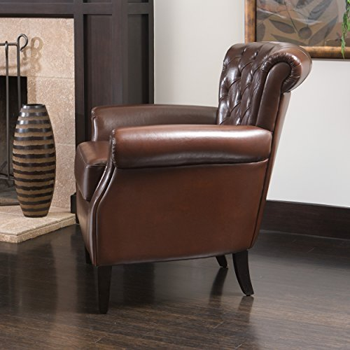 Shafford Brown Tufted Leather Club Chair w/ Rolled Arms and Back