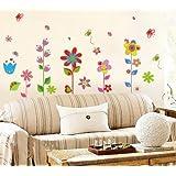 Décalcomanies Sticker fleurs colorées plantes papillon stickers muraux de mur pour chambre d'enfants salon chambre canapé TV sticker mural fille