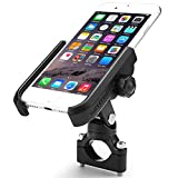 "ILM Motorcycle Phone Mount Premium Aluminum Universal Bike Handlebar Holder Fits iPhone X , 7 | 7 Plus, 8 | 8 Plus, iPhone 6s | 6s Plus, Galaxy S7, S6, S5, Holds Phones Up To 3.7"" Wide (BLACK)"