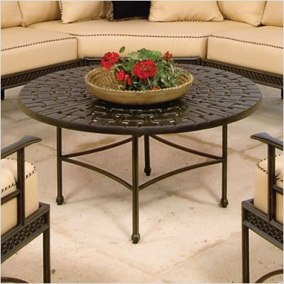 Windham Castings WO97XX41 Round Woven Top Coffee Table with Straight Base