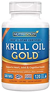 #1 Krill Oil Omega-3 Supplement - Krill GOLD, 500mg, 120 veggie capsules - IKOS 5-Star Certified, Multi-Patented, GMO-free, Hexane-free, Cold-Pressed NKO Neptune Krill Oil with Astaxanthin