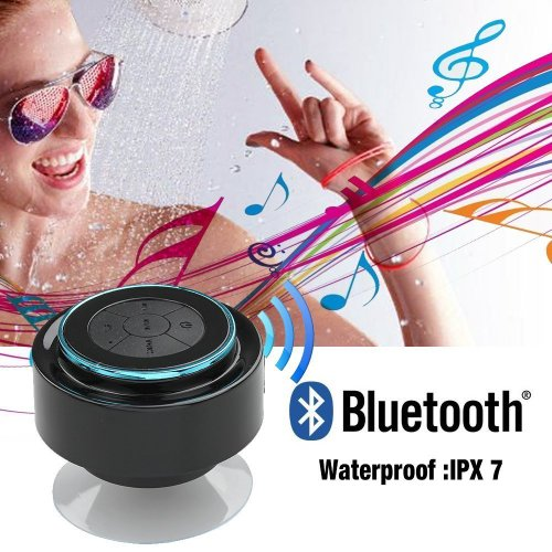 Kinglake 2014 Latest Brand New Ip67 Waterproof Mini Bluetooth Shower Speaker Enhanced Bass Audio Crystal Clear Sound With 8 Hours Playtime Built-In Microphone Hands-Free Phone Calling And Answering With Suction Cups For Smart Phones Ipad Tablets Mp3 Playe