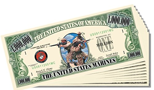 Military - Marines Novelty Million Dollar Bill - 25 Count with Bonus Clear Protector & Christopher Columbus Bill