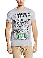 Marvel Camiseta Manga Corta Angry Hulk Face (Gris)