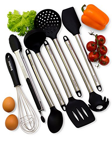 Cooking Utensils - Premium 8 Piece Kitchen Utensil Set - Tongs, Serving Spoon, Turner and Flex Spatula Tools, Pasta Server, Ladle, Strainer, Whisk - Silicone and Stainless Steel Kitchen Utensils (Cooking Machete compare prices)