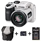 Fujifilm FinePix S4800 - White + Case + 8GB Memory + 4 AA Batteries and Charger (16 MP, 30x Optical Zoom) 3.0 inch LCD