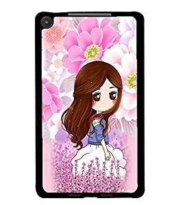 PrintDhaba Cute Girl D-4794 Back Case Cover for ASUS GOOGLE NEXUS 7 2013 (Multi-Coloured)